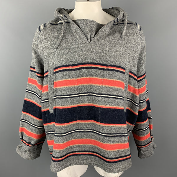 45rpm Size L Gray Red & Navy Striped Cotton Hooded Oversized Pop Over