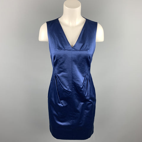 ROBERT RODRIGUEZ Size 2 Blue Cotton / Polyester V-Neck Sheath Cocktail Dress
