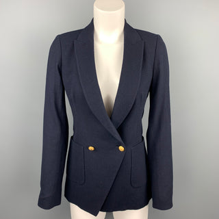 BAND OF OUTSIDERS Size 1 Navy Twill Virgin Wool Double Breasted Blazer