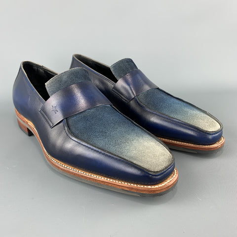 CORTHAY Size 10.5 Blue Ombre Leather Slip On Loafers