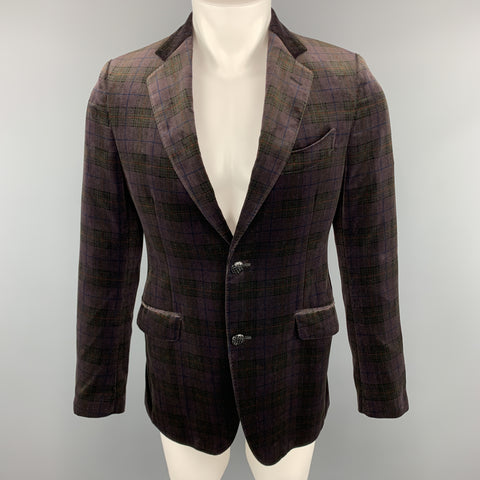 ETRO Size 40 Plaid Brown Velvet Notch Lapel Sport Coat