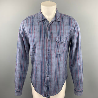 SAVE KHAKI Size M Blue Plaid Cotton / Linen Button Up Long Sleeve Shirt