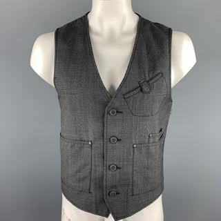 TRIPLE FIVE Size L Gray Glenplaid Wool / Polyester Buttoned Vest