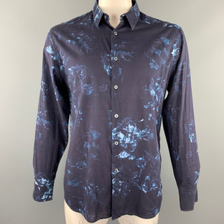 PS by PAUL SMITH Size XL Navy Floral Cotton Button Up Long Sleeve Shirt