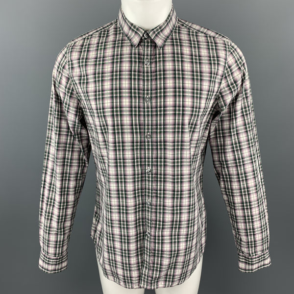 PS by PAUL SMITH Size L Green Window Pane Cotton Long Sleeve Shirt