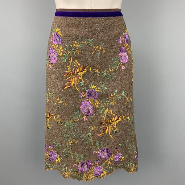 ETRO Size 10 Brown Tweed Embroidered Wool A-Line Skirt