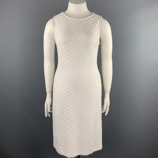 ST. JOHN Size 12 White Knitted Wool Blend Cocktail Shift Dress