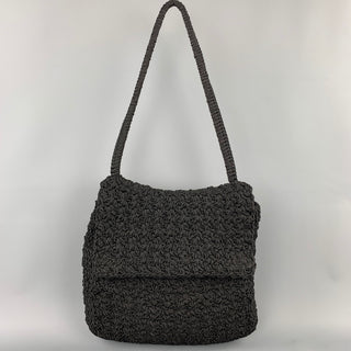 CARRIE FORBES Black Crochet Shoulder Strap Handbag