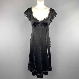 ALBERTA FERRETTI Size 6 Black Silk Sheer Panel Cocktail Dress