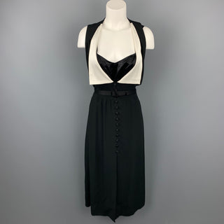 MARC JACOBS Size 6 Black & White Crepe Acetate / Viscose Sleeveless Belted Dress
