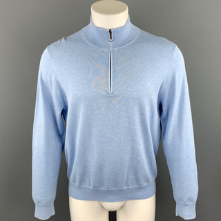 BROOKS BROTHERS Size M Light Blue Cotton Turtleneck Pullover