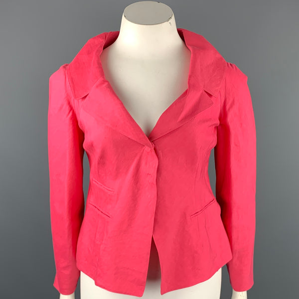 DONNA KARAN Size 10 Pink Linen Blend Notch Lapel Blazer