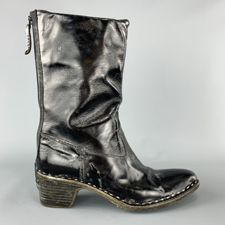 PREMIATA Size 8 Black Patent Leather Stacked Heel Boots