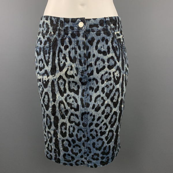 DOLCE & GABBANA Size 6 Blue Lepard Print Distressed Denim Pencil Skirt