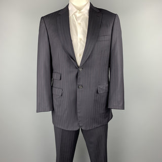 BRIONI Size 42 Navy Striped Wool Notch Lapel Suit