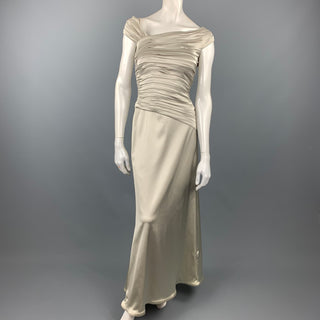 TADASHI Size 4 Silver Satin Acetate Blend Ruched Gown