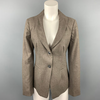 PIAZZA SEMPIONE Size L Taupe Wool Blend Notch Lapel Buttoned Blazer