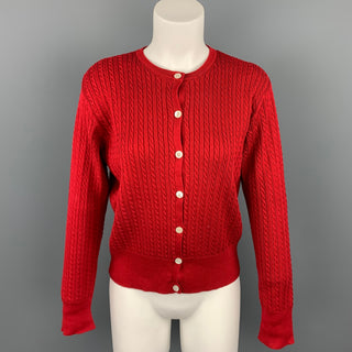 RALPH LAUREN Blue Label Size M Red Cable Knit Cotton Cardigan