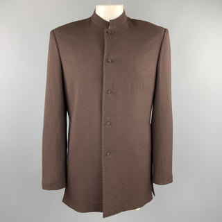 Vintage Size 42 Brown Wool Mandarin Collar Jacket