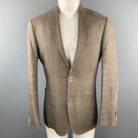 TALLIA Size 38 Taupe  Linen Notch Lapel Patch Pocket Sport Coat Jacket