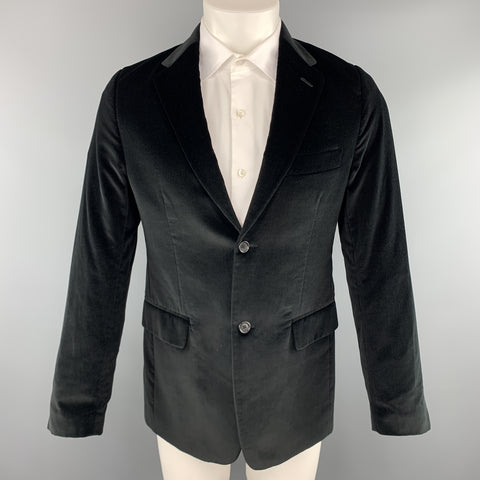 THEORY Size 38 Black Cotton Velvet Notch Lapel Sport Coat