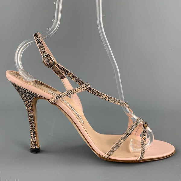 MANOLO BLAHNIK Size 8.5 Pink Leather Snake Skin Sandals