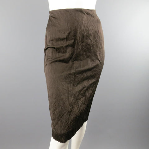 PRADA Spring 2009 Size US 10 / IT 44  Brown Winkled Cotton Metal Blend Pencil Skirt