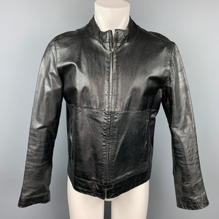 SISLEY Size 38 Black Leather Zip Up Jacket