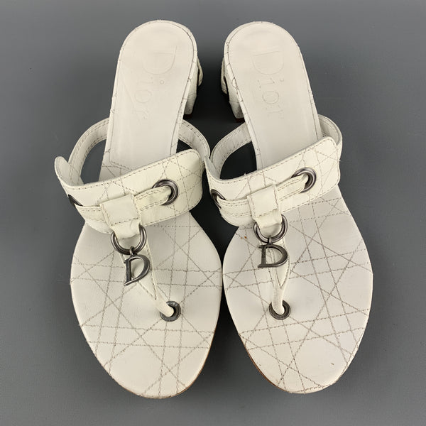 CHRISTIAN DIOR Size 10 White Cannage Leather D Loop Thong Mule Sandals