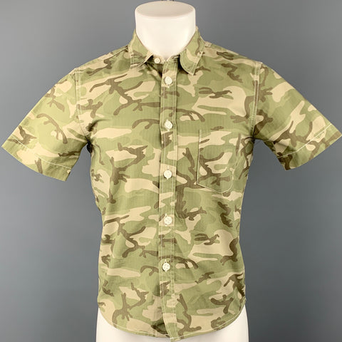 COMME des GARCONS HOMME PLUS Size S Olive Camouflage Cotton Short Sleeve Shirt