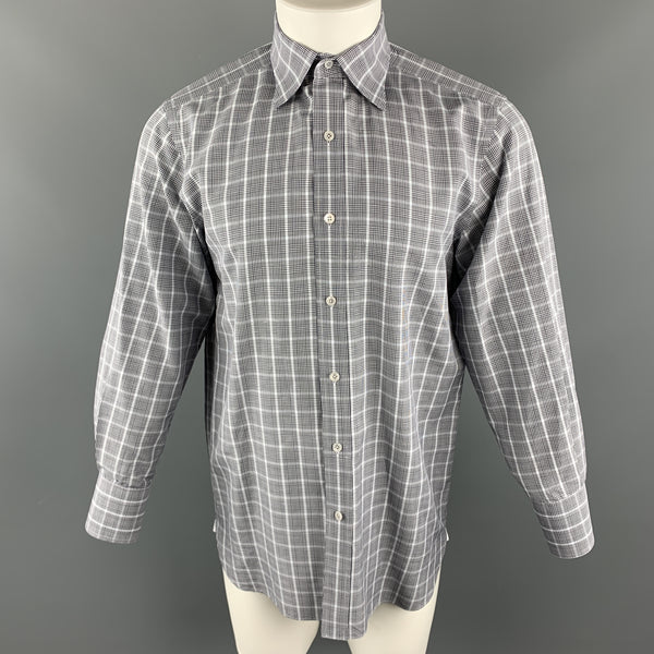 TOM FORD Size M Blue & Grey Plaid Cotton Pointed Collar Button Up Long Sleeve Shirt