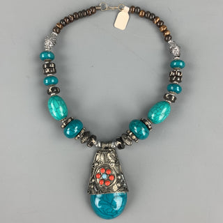 ZYRLAT Turquoise Silver Tone Beaded Necklace