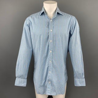 HAMILTON Size S Blue & Green Gingham Cotton Spread Collar Long Sleeve Shirt