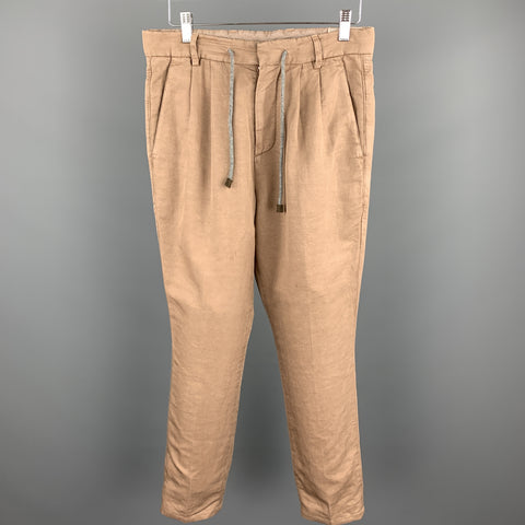 BRUNELLO CUCINELLI Size 28 Tan Linen / Cotton Drawstring Casual Pants