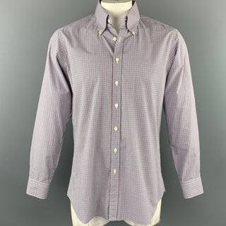 HAMILTON Size XL Blue & Brown Checkered Cotton Button Down Long Sleeve Shirt