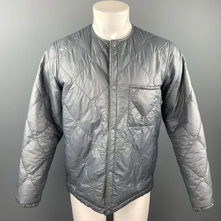BEAMS PLUS Size M Grey Quilted Nylon Snaps Jacket