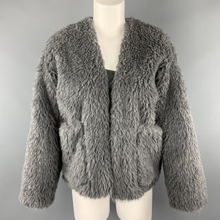 TOUJOURS Size S Gray Alpaca Blend Fauc Fur V Neck Jacket