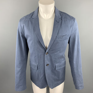 FRANK & OAK Size 40 Blue Cotton Notch Lapel Sport Coat