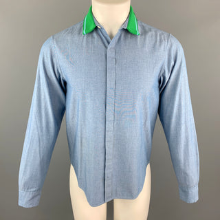 TOMORROWLAND Size XS Blue Cotton Knitted Collar Button Up Long Sleeve Shirt
