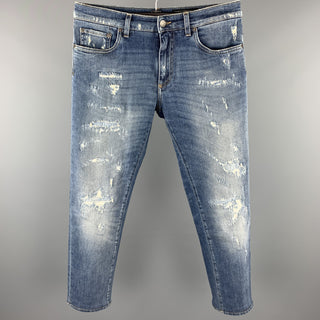 DOLCE & GABBANA Size 32 Blue Distressed Denim Zip Fly Jeans