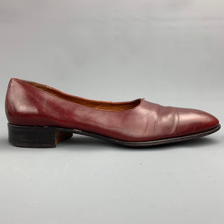 WALTER NEWBERGER for WILKES BASHFORD Size 10 Burgundy Leather Opera Pumps