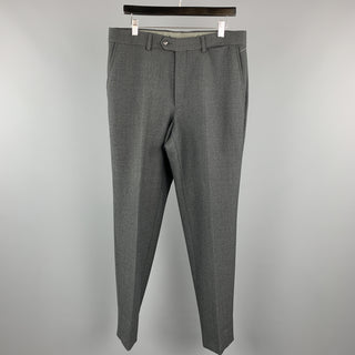 ENZO CECI Size 34 Dark Gray Cotton Front Tab Dress Pants