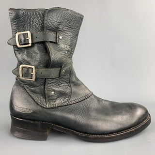 TRIUMPH by PAUL SMITH Size 9.5 Black Distressed Leather Side Zipper Boots