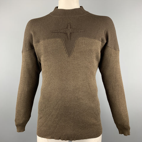 ARMAND BASI Size S Brown Ribbed Knit Wool Blend Pullover