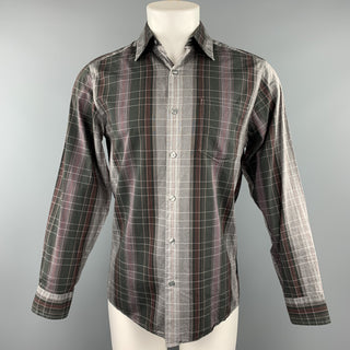 DKNY Size S Gray & Black Plaid Cotton Button Up Long Sleeve Shirt