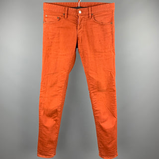 DSQUARED2 Size 30 Dark Orange Distressed Denim Button Fly Jeans