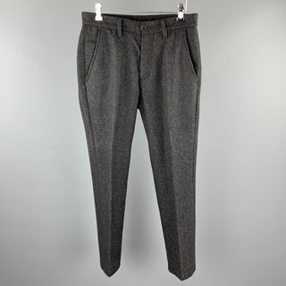 JOHN VARVATOS U.S.A. Size 30 Charcoal Herringbone Pleated Pants