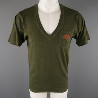 DSQUARED2 Size S Olive Dyed Cotton V-neck T-shirt