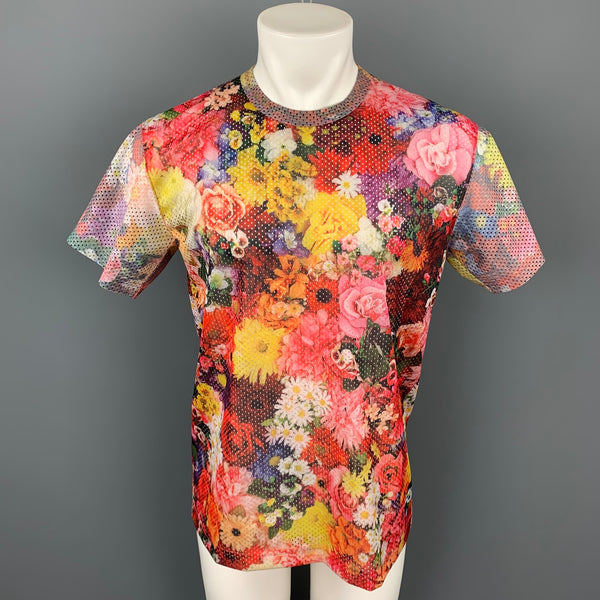 COMME des GARCONS HOMME PLUS Fall 2016 Size L Multi-Color Mesh Floral Polyester T-shirt