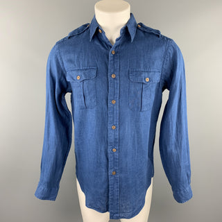 RALPH LAUREN Size S Blue Linen Button Down Long Sleeve Shirt